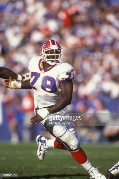 Bruce Smith of the Buffalo Bills during a NFL football game against the Denver Broncos on October 26, 1997 at Rich Stadium in Orchard Park, New York.