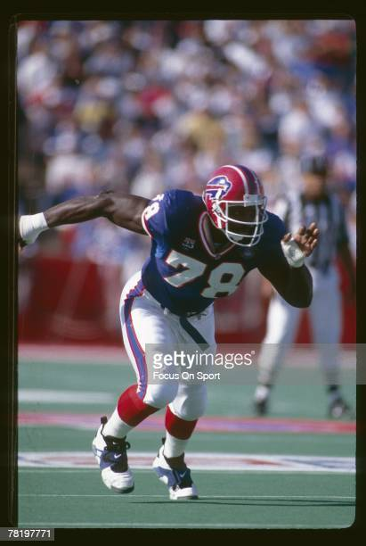 Bruce Smith of the Buffalo Bills in a NFL football game at Rich Stadium in Buffalo New York Smith played for the Bills from 198599