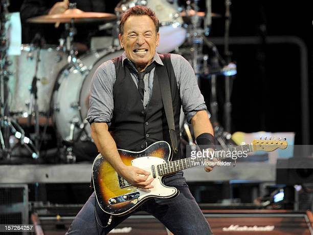 Bruce Spingsteen of Bruce Springsteen and the E Street Band performs in support of his Wrecking Ball release at Oracle Arena on November 30 2012 in...