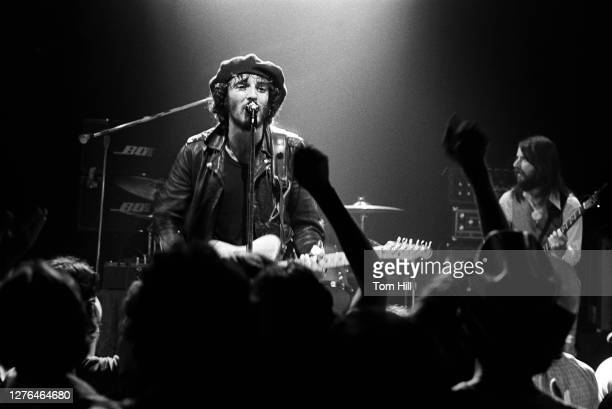 Bruce Springsteen and bassist Garry Tallent perform with The E-Street Band at Alex Cooley's Electric Ballroom on August 21, 1975 in Atlanta, Georgia.