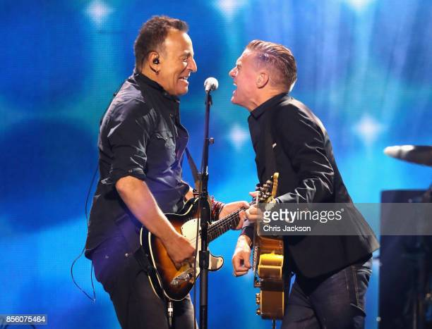 Bruce Springsteen and Bryan Adams perform during the closing ceremony of the Invictus Games 2017 at Air Canada Centre on September 30, 2017 in...