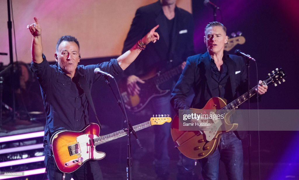 Bruce Springsteen and Bryan Adams perform together at the Closing Ceremony on day 8 of the Invictus Games Toronto 2017 on September 30, 2017 in Toronto, Canada. The Games use the power of sport to inspire recovery, support rehabilitation and generate a wider understanding and respect for the Armed Forces.