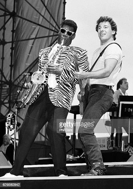 Bruce Springsteen and Clarence Clemons perform on stage in Newcastle United Kingdom 1985