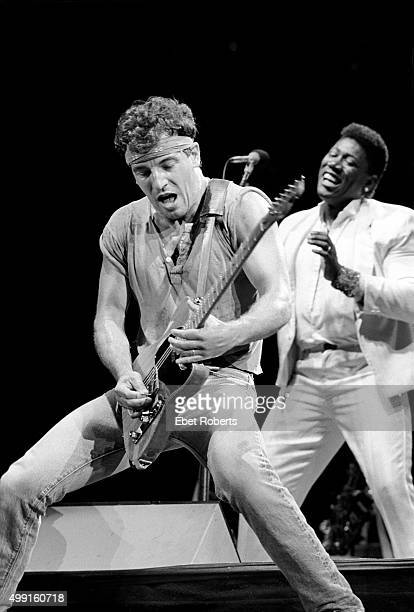 Bruce Springsteen and Clarence Clemons performing at Giants Stadium in East Rutherford New Jersey on August 19 1985
