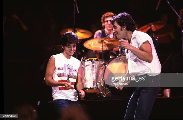 Bruce Springsteen and Courteney Cox at the filming of the video for Dancing in the Dark on 6/27/84 in Minneapolis Mn in Various Locations