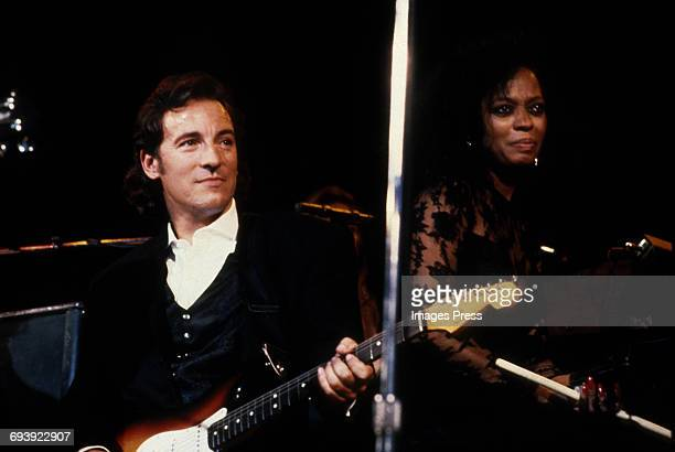 Bruce Springsteen and Diana Ross performing at the 1990 Rock n Roll Hall of Fame Induction Ceremony circa 1990 in New York City