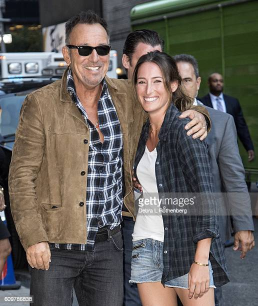 Bruce Springsteen and his daughter Jessica Springsteen arrive at the Ed Sullivan Theater for a taping of The Late Show With Stephen Colbert on...