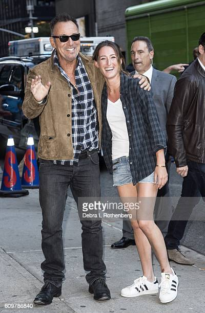 Bruce Springsteen and his daughter Jessica Springsteen arrive at the Ed Sullivan Theater for a taping of 'The Late Show With Stephen Colbert' on...