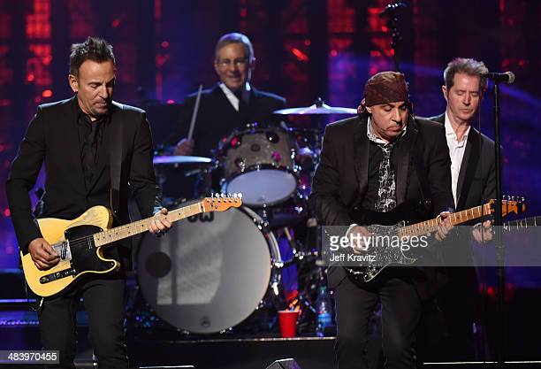 Bruce Springsteen and inductees the E Street Band perform onstage at the 29th Annual Rock And Roll Hall Of Fame Induction Ceremony at Barclays Center...