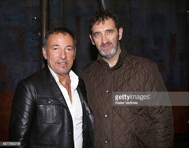 Bruce Springsteen and Jimmy Nail backstage after a performance of 'The Last Ship' at the Neil Simon Theatre on October 15 2014 in New York City