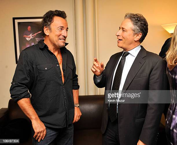"""Bruce Springsteen and Jon Stewart backstage at """"Stand Up for Heroes"""" at the Beacon Theatre on November 3, 2010 in New York City."""