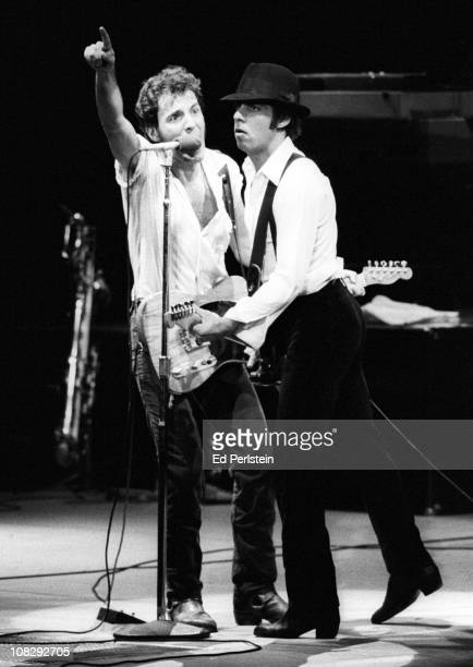 Bruce Springsteen and Little Steven perform at the Oakland Coliseum in October 1981 in Oakland California