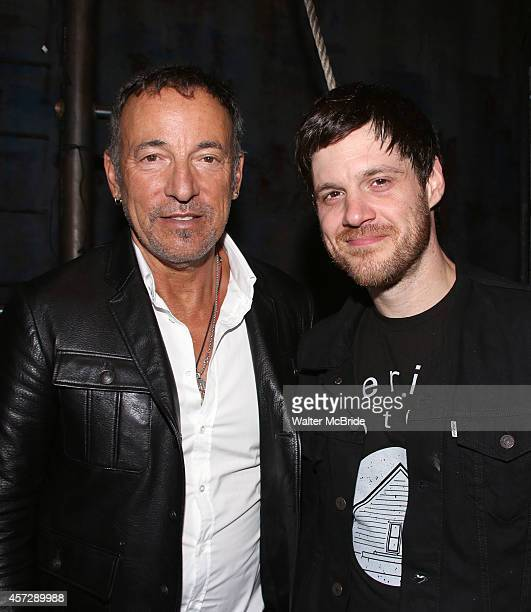 Bruce Springsteen and Michael Esper backstage after a performance of 'The Last Ship' at the Neil Simon Theatre on October 15 2014 in New York City