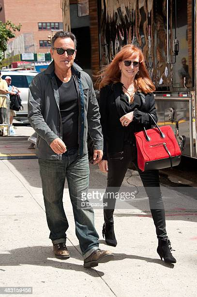 Bruce Springsteen and Patti Scialfa are seen outside the final episode of 'The Daily Show with Jon Stewart' at The Daily Show Building on August 6...