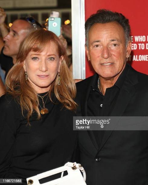 Bruce Springsteen and Patti Scialfa attend the premiere of Blinded by the Light at Paramount Theatre on August 07 2019 in Asbury Park New Jersey