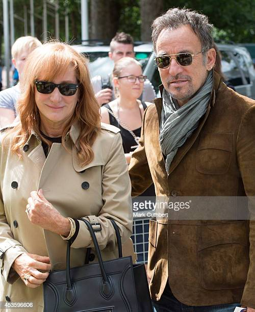 Bruce Springsteen and Patti Scialfa during the Longines Global Champions Tour at Horse Guards Parade on August 14 2014 in London England