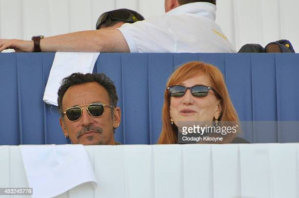 Bruce Springsteen and Patti Scialfa watch their daughter Jessica Springsteen compete during the Speed Stakes International Competition 1 at the...