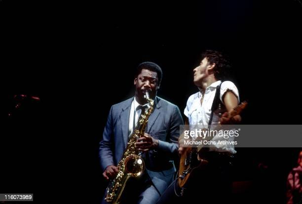 Bruce Springsteen and saxophonist Clarence Clemons performs with The East Street Band at Cobo Hall on October 9 1980 in Detroit Michigan