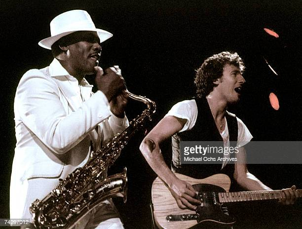 Bruce Springsteen and saxophonist Clarence Clemons performs with The East Street Band circa 1975 in Los Angeles California