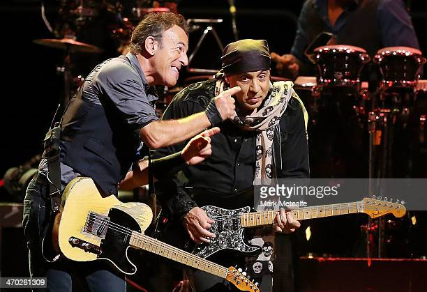 Bruce Springsteen and Steve Van Zandt perform live on stage with the E Street Band at Allphones Arena on February 19 2014 in Sydney Australia