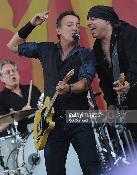 Bruce Springsteen and Steven Van Zandt of Bruce Springsteen and the E Street Band performs during the 2012 New Orleans Jazz Heritage Festival Day 3...