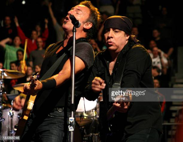 Bruce Springsteen and Steven Van Zandt of the E Street Band perform at the Philips Arena on April 26 2009 in Atlanta Georgia
