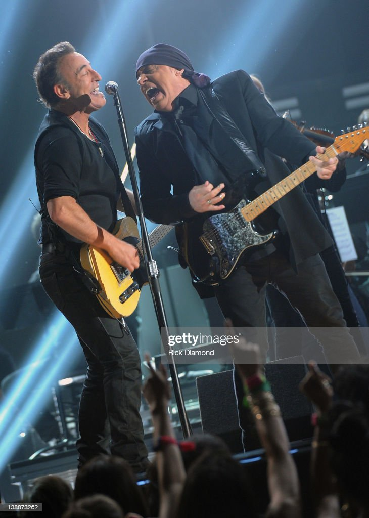 Bruce Springsteen and Steven Van Zandt of the E Street Band Perform Live at The 54th Annual GRAMMY Awards at Staples Center on February 12, 2012 in Los Angeles, California.