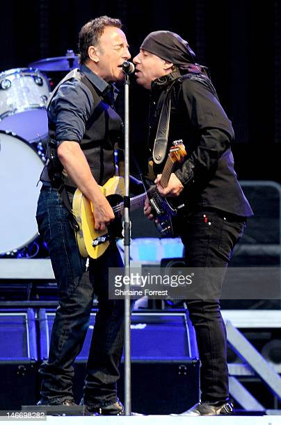 Bruce Springsteen and Steven Van Zandt of the E Street Band perform at Etihad Stadium on June 22 2012 in Manchester England