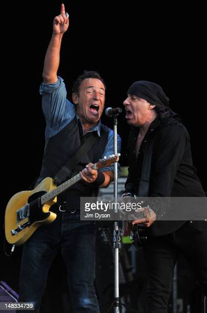 Bruce Springsteen and Steven Van Zandt perform live on stage during the second day of Hard Rock Calling at Hyde Park on July 14 2012 in London England