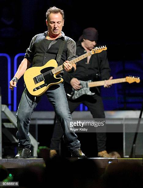 Bruce Springsteen and Steven Van Zandt perform onstage at Madison Square Garden on November 7 2009 in New York City