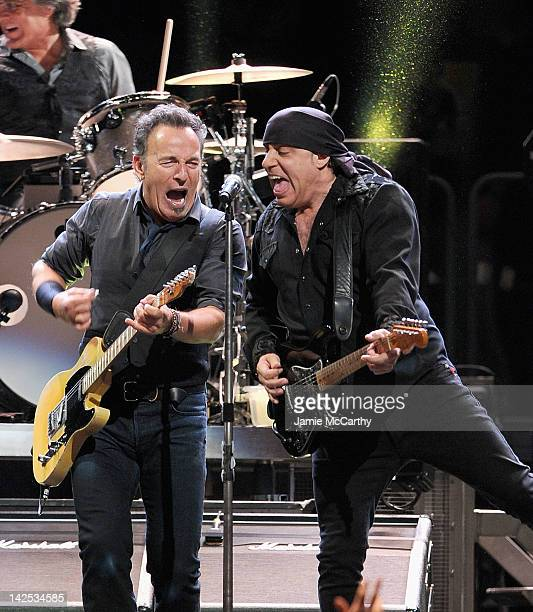 Bruce Springsteen and Stevie Van Zandt perform at Madison Square Garden on April 6 2012 in New York City