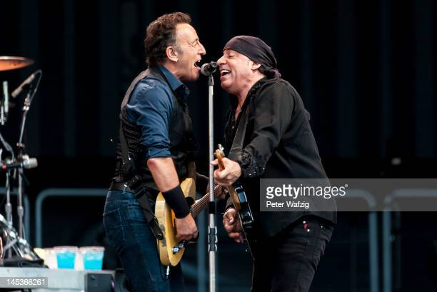 Bruce Springsteen and Stevie Van Zandt perform on stage at the Rheinenergiestadion on May 27 2012 in Cologne Germany
