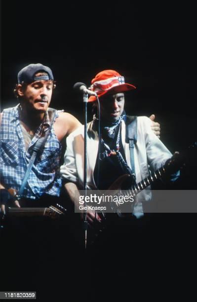 Bruce Springsteen and the E Street Band, Bruce Springsteen, Nils Lofgren, Feyenoord Stadium, De Kuip, Rotterdam, Netherlands, 12th June 1985.