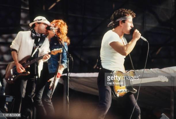 Bruce Springsteen and the E Street Band Bruce Springsteen Patti Scialfa Nils Lofgren Feyenoord Stadium De Kuip Rotterdam Netherlands 12th June 1985