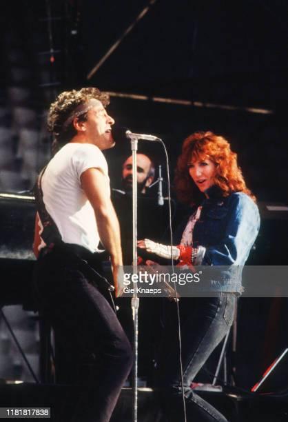 Bruce Springsteen and the E Street Band Bruce Springsteen Patti Scialfa Roy Bittan Feyenoord Stadium De Kuip Rotterdam Netherlands 12th June 1985