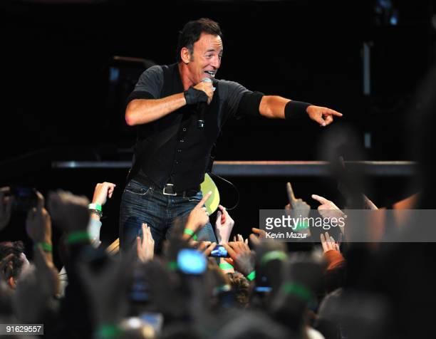 Bruce Springsteen and The E Street Band perform at Giants Stadium on October 8, 2009 in East Rutherford, New Jersey.