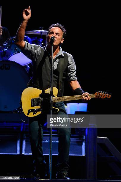 "Bruce Springsteen and The E Street Band perform during the ""Wrecking Ball"" tour at MetLife Stadium on September 19, 2012 in East Rutherford, New..."