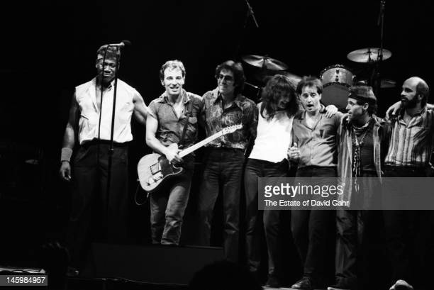 Bruce Springsteen and the E Street Band perform in July 1984 at the Joe Louis Arena in Detroit Michigan