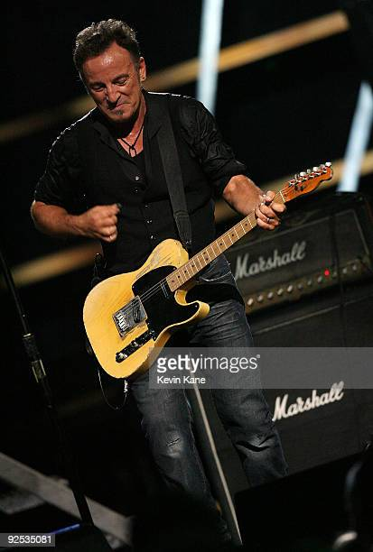 Bruce Springsteen and the E Street Band perform onstage at the 25th Anniversary Rock Roll Hall of Fame Concert at Madison Square Garden on October 29...