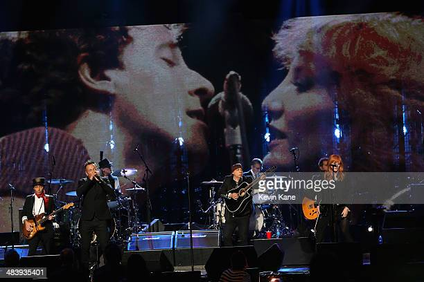 Bruce Springsteen and the E Street Band perform onstage at the 29th Annual Rock And Roll Hall Of Fame Induction Ceremony at Barclays Center of...