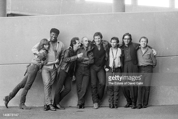 Bruce Springsteen and the E Street Band pose for a portrait at Giants Stadium in September 1986 in East Rutherford New Jersey
