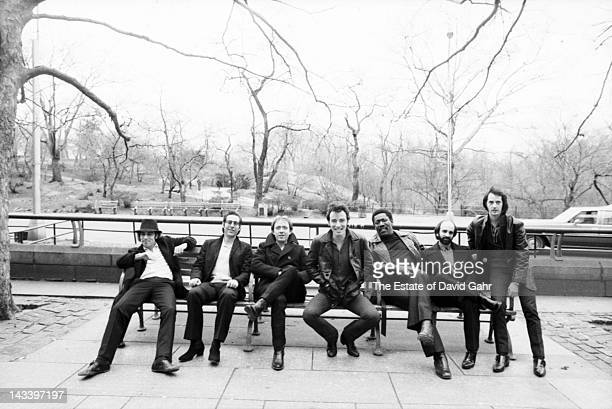 Bruce Springsteen and the E Street Band pose for a portrait in March 1980 in Central Park New York City New York