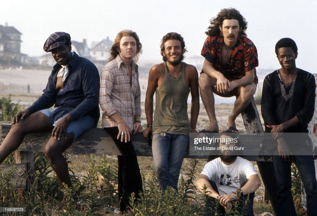 Bruce Springsteen and the E Street Band (L - R Clarence Clemons, Danny Federici, Bruce Springsteen, Vini Lopez, Garry Tallent, Dave Sancious ) pose for a portrait on August 29, 1973 along the Jersey Shore, New Jersey.
