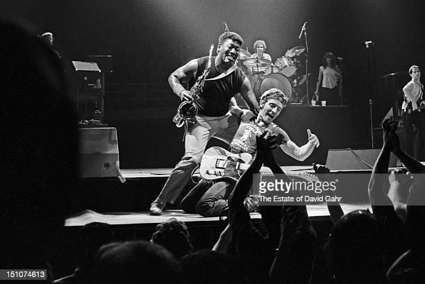 Bruce Springsteen and The East Street Band perform live at the Joe Louis Arena on July 30 1984 in Detroit Michigan