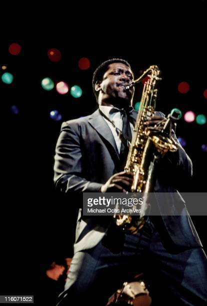 Bruce Springsteen and the East Street Band saxophonist Clarence Clemons performs at the Joe Louis Arena on August 11 1981 in Detroit Michigan