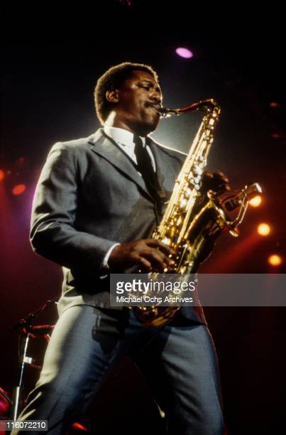 Bruce Springsteen and the East Street Band saxophonist Clarence Clemons performs with The East Street Band at Cobo Hall on October 9 1980 in Detroit...
