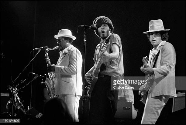Bruce Springsteen and the EStreet band perform on stage at their first UK concert Hammersmith Odeon London 18th November 1975 Left to right Clarence...