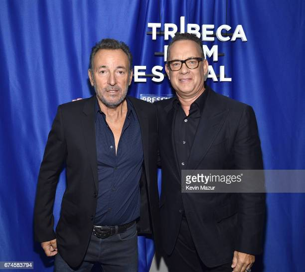Bruce Springsteen and Tom Hanks backstage before Tribeca Talks Bruce Springsteen And Tom Hanks 2017 Tribeca Film Festival on April 28 2017 in New...