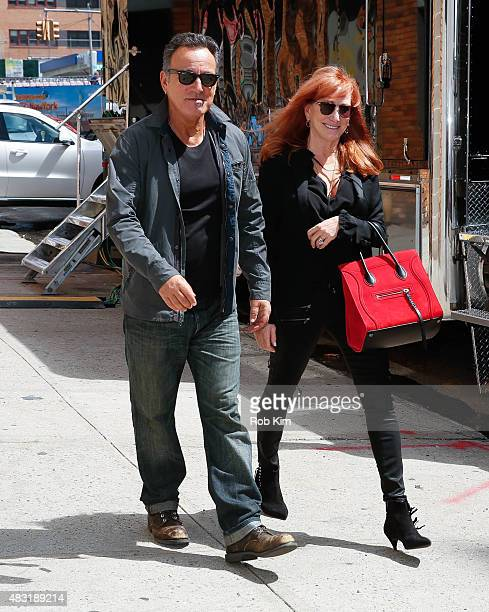 Bruce Springsteen and wife Patti Scialfa are seen leaving 'The Daily Show with Jon Stewart' #JonVoyage on August 6 2015 in New York City