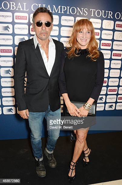 Bruce Springsteen and wife Patti Scialfa attend the 2014 Longines Global Championships Tour party at Claridge's Hotel on August 13 2014 in London...